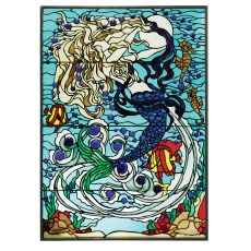 "27.5"" W X 39"" H Mermaid of the Sea Stained Glass Window"
