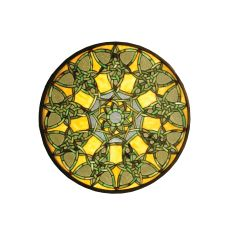 "20"" W X 20"" H Knotwork Trance Medallion Stained Glass Window"