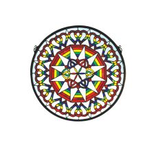 "20"" W X 20"" H Rainbow Expression Medallion Stained Glass Window"