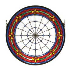 "21"" W X 21"" H Fleur-De-Lis Medallion Stained Glass Window"