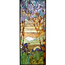 """23.80"""" W X 59.80"""" H Tiffany Magnolia & Iris Stained Glass Window"""