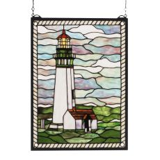 "15"" W X 20"" H Yaquina Head Lighthouse Stained Glass Window"