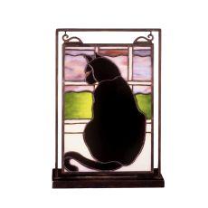 "9.5"" W X 10.5"" H Cat In Window Lighted Mini Tabletop Window"