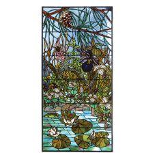 """23.75"""" W X 47.75"""" H Woodland Lilypond Custom Stained Glass Window"""