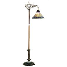 "60"" H Tiffany Jeweled Peacock Bridge Arm Floor Lamp"