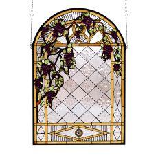 """24"""" W X 36"""" H Grape Diamond Trellis Stained Glass Window"""