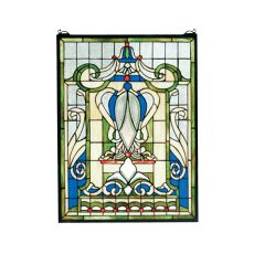 """18"""" W X 24"""" H Royal Blue Windsor Stained Glass Window"""