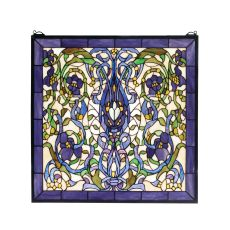 "22"" W X 22"" H Floral Fantasy Stained Glass Window"