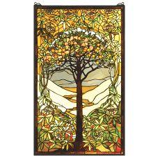 "24"" W X 40"" H Tiffany Tree Of Life Stained Glass Window"