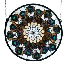 """17"""" W X 17"""" H Tiffany Peacock Feather Medallion Stained Glass Window"""