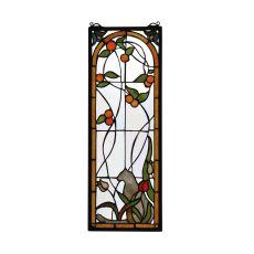 "9"" W X 25"" H Cat & Tulips Stained Glass Window"