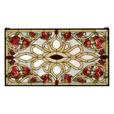 "36"" W X 20"" H Bed Of Roses Stained Glass Window"