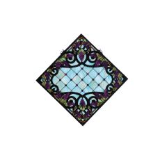 """25.5"""" W X 25.5"""" H Jeweled Grape Stained Glass Window"""