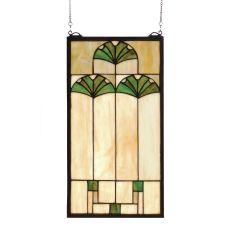 """11"""" W X 20"""" H Ginkgo Stained Glass Window"""