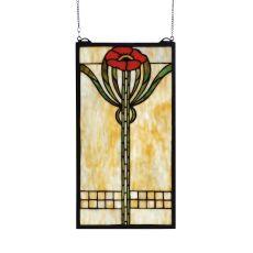 """11"""" W X 20"""" H Parker Poppy Stained Glass Window"""