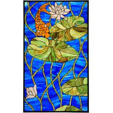 "22.25"" W X 37.75"" H Koi Pond Lily Stained Glass Window"