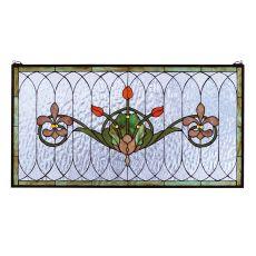 """36"""" W X 19"""" H Tulip & Fleurs Stained Glass Window"""