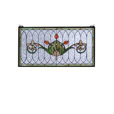 """26"""" W X 14"""" H Tulip & Fleurs Stained Glass Window"""