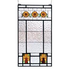 """18"""" W X 32"""" H Aurora Dogwood Stained Glass Window"""