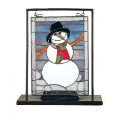 """9.5"""" W X 10.5"""" H Snowman Lighted Mini Tabletop Window"""