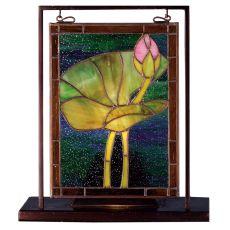 "9.5"" W X 10.5"" H Tiffany Pond Lily Lighted Mini Tabletop Window"