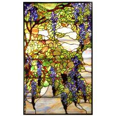 """25.5"""" W X 42"""" H Tiffany Wisteria & Snowball Stained Glass Window"""