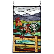 """19"""" W X 31"""" H Rooster Stained Glass Window"""