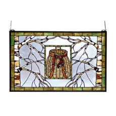 "28"" W X 18"" H Pack Basket Stained Glass Window"