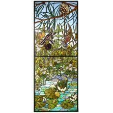 """24"""" W X 59.50"""" H Woodland Lilypond Stained Glass Window"""