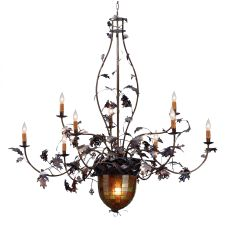 "63"" W Greenbriar Oak 9 Arm Chandelier"