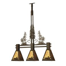 "30"" L Loon Tall Pines 3 Lt Island Pendant"