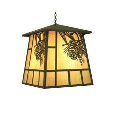 "30"" Sq Stillwater Winter Pine Lantern Pendant"