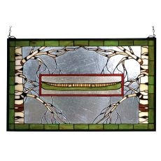 "28"" W X 18"" H North Country Canoe Stained Glass Window"