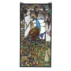 """15"""" W X 30"""" H Tiffany Peacock Wisteria Stained Glass Window"""