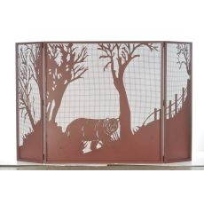 "62"" W X 40"" H Northwoods Bear At Dusk Fireplace Screen"
