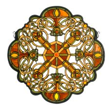 """25"""" W X 25"""" H Galway Medallion Stained Glass Window"""