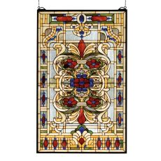"22"" W X 35"" H Estate Floral Stained Glass Window"