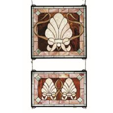"20"" W X 32"" H Shell And Ribbon 2 Pieces Stained Glass Window"