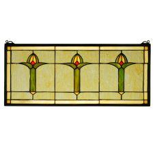 """26"""" W X 11"""" H Arts & Crafts Bud Trio Stained Glass Window"""