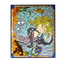 "29.25"" W X 24.5"" H Mermaid of the Sea Custom Stained Glass Window"