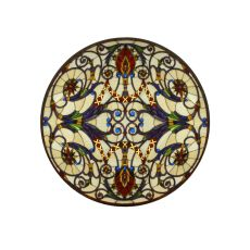 "42"" W X 42"" H Spiral Victorian Medallion Stained Glass Window"