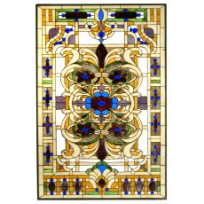 "32"" W X 48"" H Estate Floral Stained Glass Window"