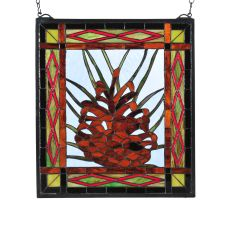 """16"""" W X 18"""" H Northwoods Pinecone Center Stained Glass Window"""