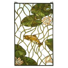 """24"""" W X 38"""" H Trout & Water Lilies Stained Glass Window"""