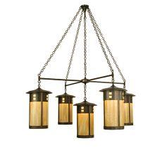 "71.5"" W Fulton Englewood 5 Lt Hanging Lantern Chandelier"