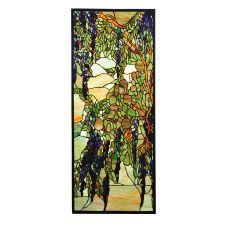 """15.25"""" W X 36.25"""" H Tiffany Wisteria & Snowball Custom Stained Glass Window"""