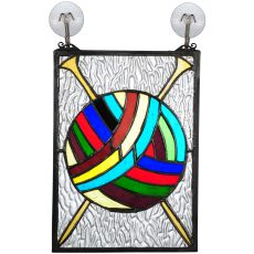 "6"" W X 9"" H Ball Of Yarn W/Needles Stained Glass Window"