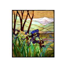 """36"""" W X 42"""" H Iris Custom Stained Glass Window"""