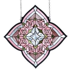 "20"" W X 20"" H Ring Of Roses Stained Glass Window"