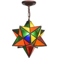 "12"" W Moravian Star Multi-Color Pendant"
